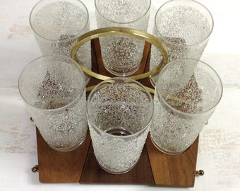 Mid Century Highball Glasses on Wooden Coasters in Metal Carrier / Set of 6 Glasses in Brass Caddy with Coasters / Glass Frit Highballs /