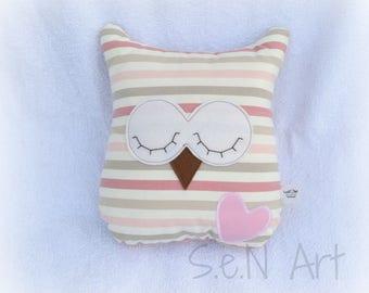Handmade Sleeping Owl Pillow, Owl Soft Toy , Stripy Cushion, Sleepy Owl. Owl stuffed toy