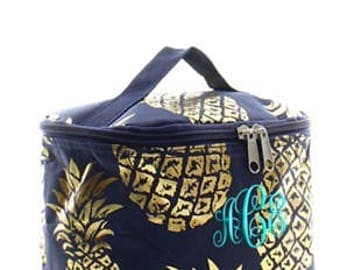Monogrammed/Personalized Navy and Gold Pineapple Cosmetic Bag, Bridesmaid Gift, Women's Gift