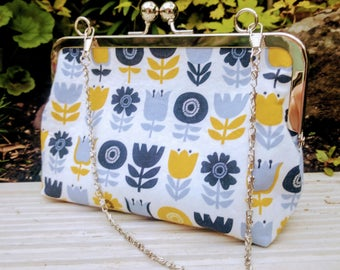Clutch bag, clutch purse, large purse, metal snap frame, mustard yellow and grey bloom fabric, retro design, flowers.