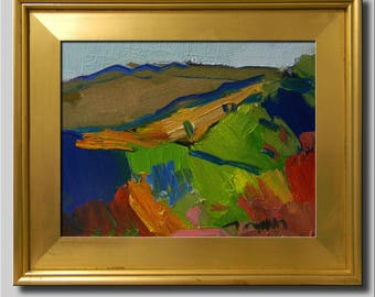 Landscape Painting, Original Mountain Impressionist Oil, Bright Plein Air Painting, Abstract Hills Painting