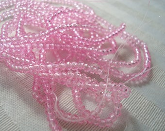 """PROMO! 198 Tiny Bright Pink Faceted Glass Rondelles. 2.2x1.7mm Translucent Dyed Pink, Tiniest Glass Rondelles.  Full 16"""" Strand"""