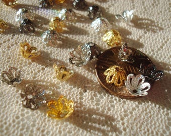 100 Tiny 6mm Brass Bell Flower Caps. Sparkling Little Filigree Flowers in 4 Colors or Mix! Adustable and Easy to Flair  ~USPS Ship Rates /OR