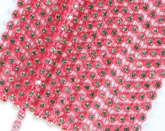 SS10 Rhinestone Neon Fuchsia Pink Banding