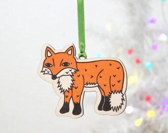 Laser Cut Fox Decoration, Christmas Tree Ornament.