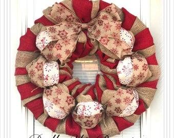 Candy Cane Wreath - Wreath, Christmas Wreath, Wreath, Winter Decor, Wreath Burlap Wreath - Christmas Decor Burlap, Door Wreath