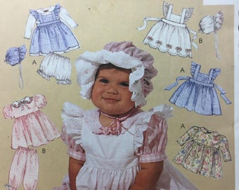 1990s, McCall's 9547, Baby Girl's, Infant Clothes, Pinafore, Dress, Panties, Pantaloons, Bonnet, Sewing Pattern, Baby Shower Gift, Baby Gift