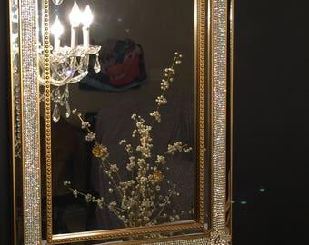 Rhinestone Wall Mirror bling wall mirror | etsy
