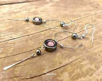 Boucles d'oreilles longues, perles roses, hématite et acier inoxydable