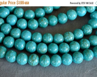 SUPER SALE Turquoise Beads, 8mm, Round Synthetic Turquoise Stone Beads, 20 Beads, Stone, Gemstone, Hole 1mm