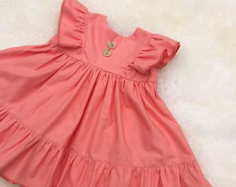 Coral ruffle dress, 12m summer dress, ready to ship