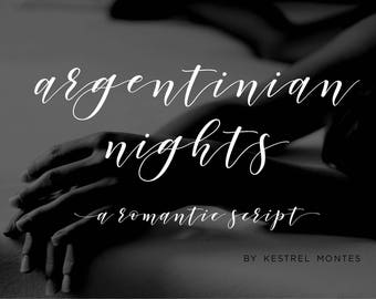 Calligraphy Font by Kestrel Montes, Argentinian Nights, Handlettered Calligraphy Font, Commercial Web Font, Wedding Invitation Swashes Font