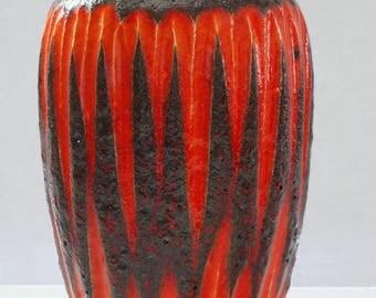 Scheurich Mid Century Orange & Brown Fat Lava West German Vase