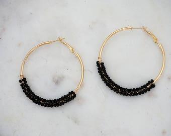 Black Beaded Gold Hoop Earrings
