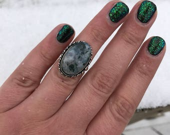 Green Moss Agate Gemstone Vintage 1990's Sterling Silver Statement Ring