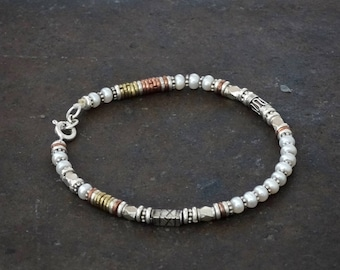 Pearl Bracelet, Silver and Pearl, Beaded Bracelet, Freshwater Pearl, Mixed Metals, Sterling Silver, Copper, Brass
