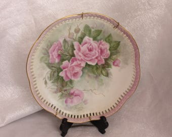 Hand Painted Ceramic Plate wall hanging with flowers in pink and green by Sumie 1990