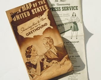 Greyhound Tour Map of the United States and Schedule from the 1940's /  Early Greyhound / Pennsulvania Turnpike