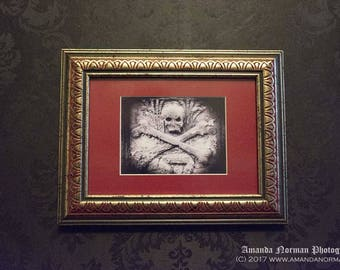 Skull and Crossbones Gothic Frame and Print