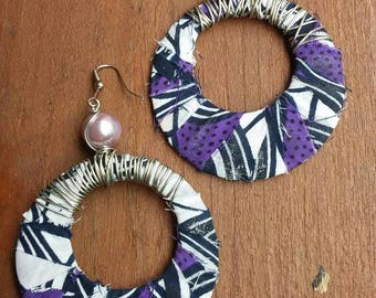 Purple and Black Print Wire Wrapped Earrings, Wire  Wrapped Earrings, Black Earrings, Purple Earrings, Tribal Print Earrings