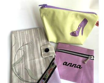 Matching set : wallet, make up bag, purse * anise, grey, violet