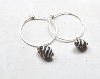 Shell Hoop Earrings, Sterling Hoop Earrings, Pyrene Shell Earrings, Hammered Hoops, Simple Shell Hoops