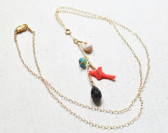 Cluster Necklace, Dangling Shell Necklace, Agate Necklace, Gold Drop Necklace