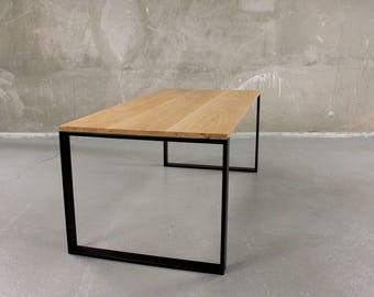 Industrial table in solid wood and steel frame legs