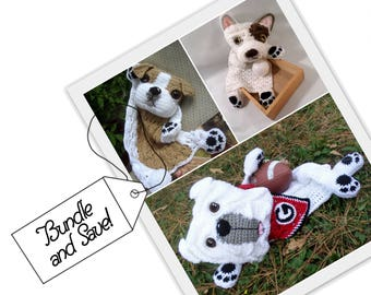Bulldog Crochet Pattern Bundle // Bulldog Puppy // French Bulldog // Papa Bulldog // 3 Instant PDF Downloads // original designs