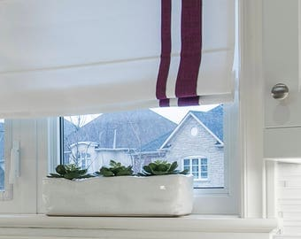 "Flat Roman Shade ""White with double Plum Border"" with Chain Mechanism, linen roman shade"