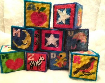 Vintage Needlepoint Blocks,Childrens Toy