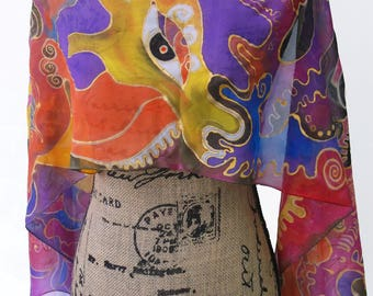 Conversation with Birds; Chiffon Silk Scarf; OOAK; 16.5in. x 61in.; Eco-Fashion; Gift for Her; Bird Scarf;Shades of Purple Scarf
