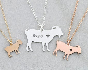 Goat Necklace Personalized Pet • Goat Jewelry Farm Animal Lover Gift Funny Gift Farm Gift Animal Charm Animal Necklace Pet