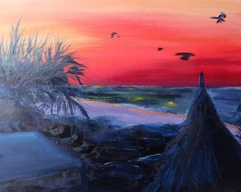 Sunrise on the Beach, Original Oil Painting