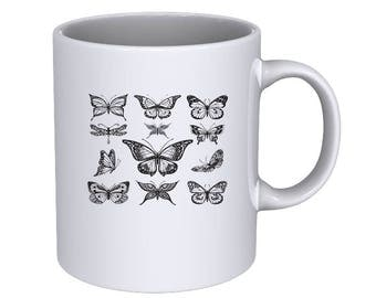 Hand Drawn Butterflies graphic set - cool - Coffee Mug - Best Gift !!!