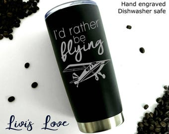 New Pilot Gift - Pilots License Gift for Pilot Birthday - Pilot Coffee Mug - Single Engine Airplane - I'd rather be flying - Stainless Steel
