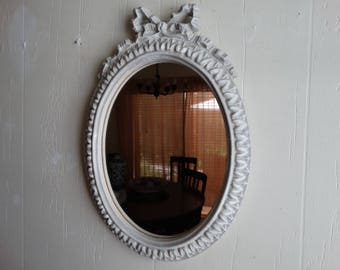 Accent Mirror Bow and Ribbon detail top Cottage Decor