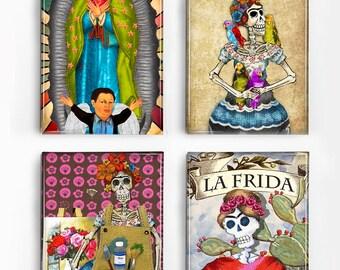 Set of 4 Magnets Day of the Dead Skeleton Frida