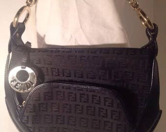 Authentic Fendi Zucchino Hobo With Gold Hardware