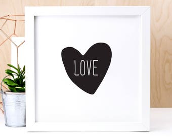 Love Print; Black And White Print; Valentine Gift; Wedding Gift; Anniversary Gift; Home Decor; Wall Art; Love Heart; Scandi; AP180