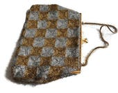 Vintage Gold and Silver Beaded Bag  60s Evening Bag with Glass beads and Silk Lining 1960s  Empire Made