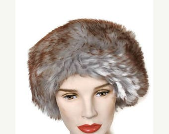 Summer Sale Fur Hat by Reslaw 1950's // Fur Russian Style Hat Made in London // Grey and Brown Hat