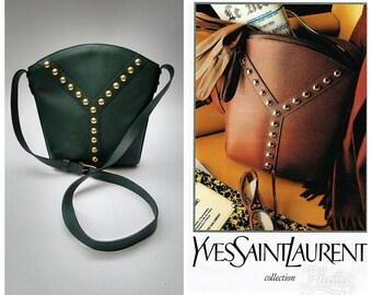 YSL Yves Saint Laurent Vintage Green Leather Shoulder Bag . French designer purse.