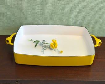 Danish Modern Bakeware, Dansk Kobenstyle Enamel Baking Pan, Danish Modern Baking Pan, Jens Quistgaard, Yellow Enamel Lasagna Pan,