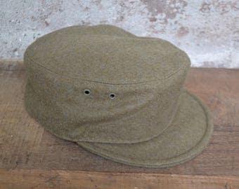 Vintage military hat, vintage wool hat, military hat, wool military hat, military green hat, Italian military, Italian military hat