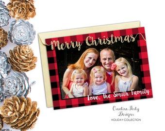 Christmas Card, Photo Christmas Card, Buffalo Plaid Christmas Card, Glitter Christmas Card, Holiday Card, DIY Printable Christmas Card