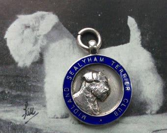 Vintage Rare Sterling Silver and Enamel Sealyham Terrier Dog Medal