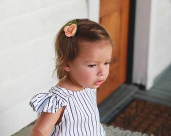 felt flower hair clip , Felt flower hair clip, hair clip, hair pin , peach, coral, summer hair pin, toddler hair clip, hair accessories