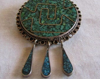 Mexico Sterling Silver Chip Inlay Pin Pendant