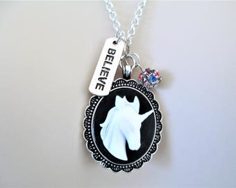 Unicorn Cameo Necklace, Unicorn Necklace With Believe Charm, Unicorn Cameo Pendant Necklace